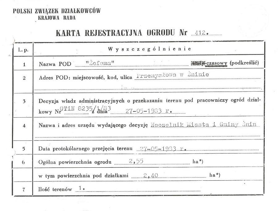 Karta Rejestracyjna ROD Żefama w Żninie